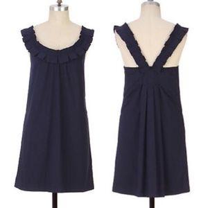 Anthro Fei Carambola Pleated Collar V Shift Dress